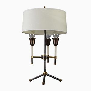 Mid-Century Black and Gilded Metal Table Lamp, 1950s
