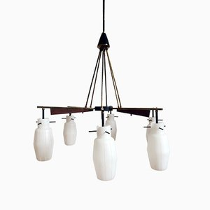 Vintage Italian Ceiling Light with Opal Glass Shades