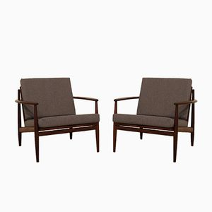 Vintage Scandinavian Teak Frame Easy Chairs, Set of 2