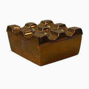 Vintage Geometric Brass Ultima Ashtray by Bäckström & Ljungberg, 1970s
