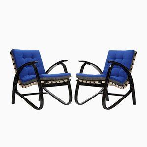 Vintage Blue & Grey Armchairs by Jan Vanek, 1935, Set of 2