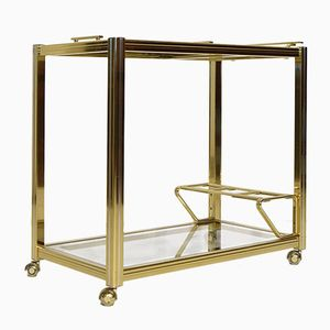 Vintage Brass & Chrome Bar Trolley by Pierre Vandel