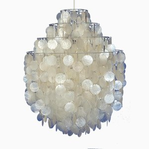 Vintage Fun 0 DM Mother of Pearl Chandelier by Verner Panton for Lüber