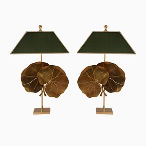 Brass Table Lamps with Lotus Leaves, 1970s, Set of 2