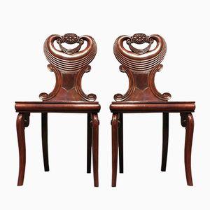 Regency Mahogany Hall Chairs, 1810s, Set of 2