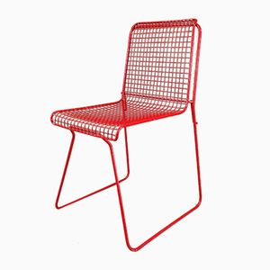 Red Lacquered Metal Chair, 1980s