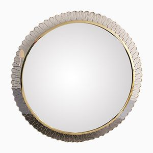 Large Round Framed Mirror, 1970s