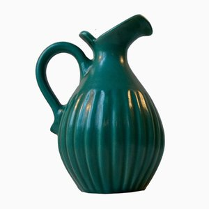 Fluted Green Art Deco Stoneware Jug by Christian Jensen, 1930s