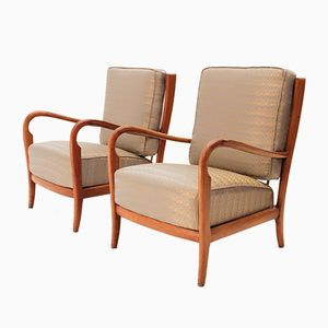 Italian Wooden Art Deco Armchairs, 1940s, Set of 2