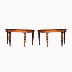Antique French Fruitwood Demi-Lune Side Tables, Set of 2