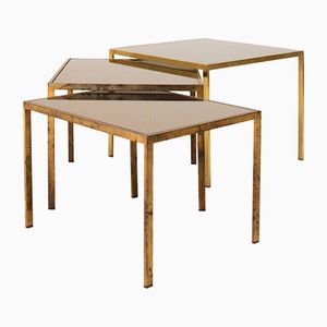 Brass & Mirrored Top Nesting Tables, 1950s