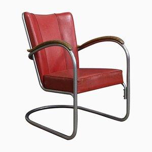 Vintage 412 Sessel mit Holz Armlehnen von W.H. Gispen für Gispen