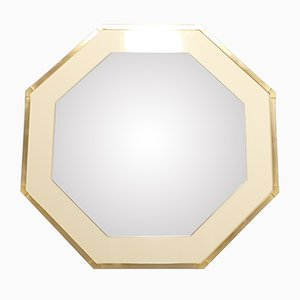 White Lacquer and Brass Mirror by Jean-Claude Mahey for Romeo, 1970s