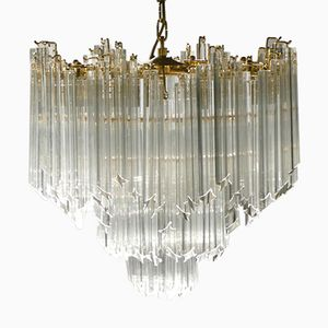 Crystal & Brass Chandelier by Paulo Venini for Murano, 1960s