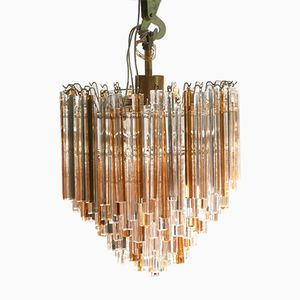 Bicolored Crystal Chandelier by Paulo Venini for Murano, 1960s