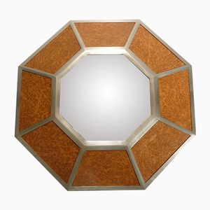 Metal & Elm Hexagonal Mirror by Willy Rizzo, 1970s
