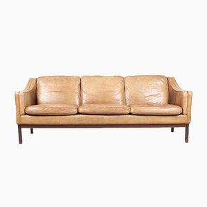 Vintage Danish Three-Seater Tan Leather Sofa, 1970s
