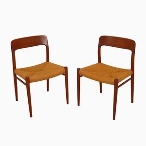 Vintage Model 75 Teak Dining Chairs by Niels O. Møller for JL Møllers Møbelfabrik, Set of 2