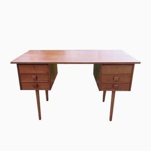 Danish Small Double-Faced Teak Desk, 1960s