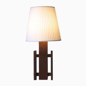 Vintage Large Wooden Scandinavian Table Lamp