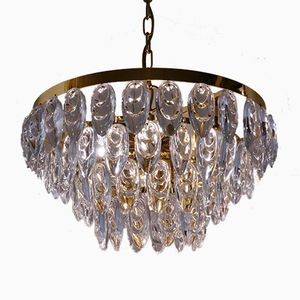 Gilt Brass & Optical Crystal Chandelier from Palwa, 1960s