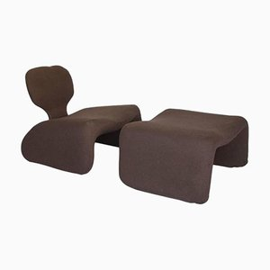 Brown Djinn Chair with Ottoman by Olivier Mourgue for Airborne