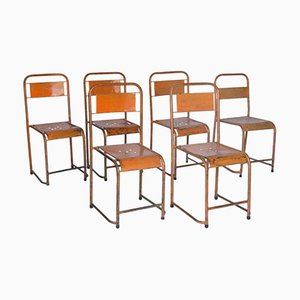 Vintage French Industrial Metal Stacking Chairs, Set of 6