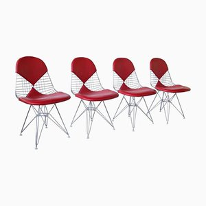 Red Leather DKR Bikini Chairs by Charles and Ray Eames for Vitra, Set of 4