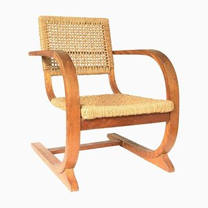 Vintage Rope Slung High Back Armchair by Bas van Pelt