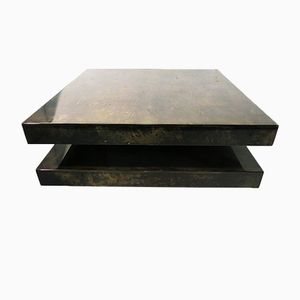 Vintage Goat Leather Coffee Table by Aldo Tura