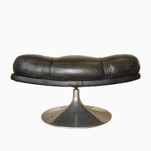 Aluminum and Black Leatherette Foot Stool from Minty