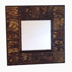 Vintage Square Mirror in Wood and Metal