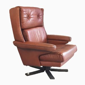 Mid-Century Danish Brown Leather Swivel Chair with Stitched Detailing, 1970s