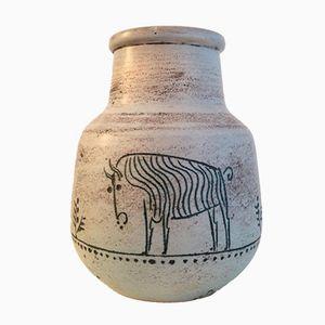 Vase Vintage en Céramique avec Taureaux par Jacques Blin