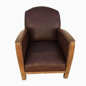 Vintage Art Déco Solid Wood & Skai Armchair
