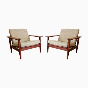 Danish Teak Wood Armchairs, 1970s, Set of 2