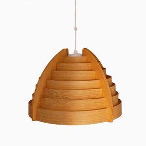 Swedish Wooden Suspension Lamp, 1960s