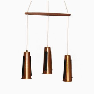 Danish Copper and Teak Suspension Lamp, 1960s