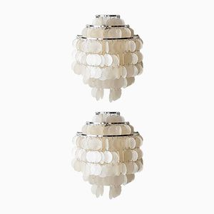 Fun Series Mother of Pearl Wall Lamps by Verner Panton for Lüber, Set of 2