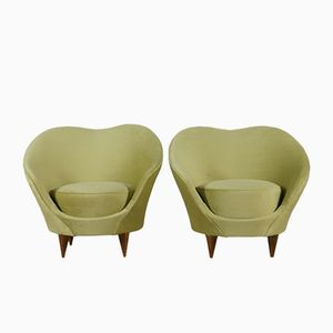 Velvet Armchairs, 1950s, Set of 2