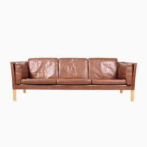 Vintage Danish Three-Seater Leather Sofa from Ivan Schlecter, 1960s