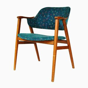 Danish Teak & Turquoise Fabric Chair, 1960s