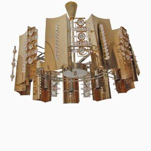 Brass & Cystal Glass Chandelier, 1970s