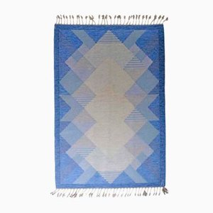 Blue Swedish Rug by Anna Johanna Ångström, 1960s