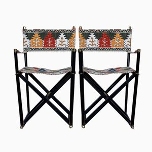 Vintage Spanish Ebonized Folding Chairs, Set of 2