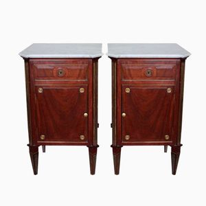 Mahogany Bedside Cabinets with Bronze Mounts, 1880s, Set of 2