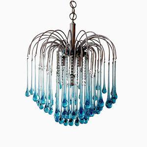 Murano Kristallglas Tropfen Kaskaden-Kronleuchter von Paolo Venini, 1960er