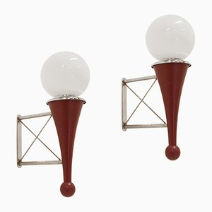 Mid-Century Wood, Chrome and Glass Wall Lights, Set of 2