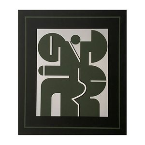Vintage Dark Green Screen Print by Georg Bernhard, 1970s