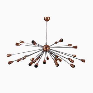 Copper Sputnik Ceiling Lamp, 1950s